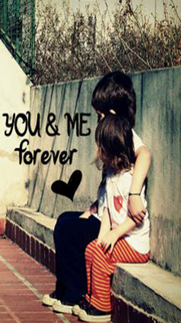 """Download """"U and me forever baby"""" wallpaper for mobile cell phone."""