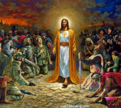 Jesus and soldiers
