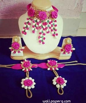 Pink floral jewellery for bride