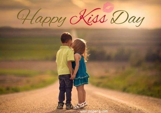 Kiss day hd wallpaper with kids