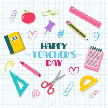 School stuff on a notebook sheet teacher s day