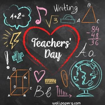 Teachers day written on a chalk board in colourful chalks