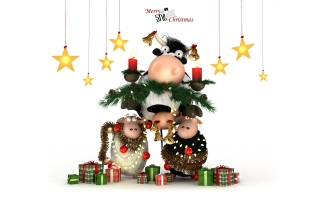 Christmas cow and sheeps