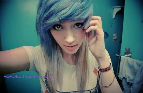 Stylish girl with blue hair