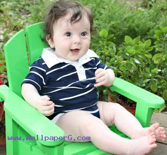 Baby on green chair ,wide,wallpapers,images,pictute,photos