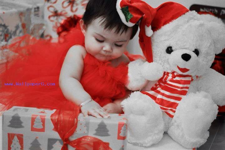 Cute baby with cute teddy
