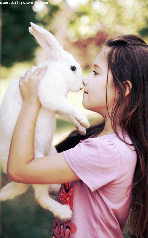 Girl playing with rabbit ,wide,wallpapers,images,pictute,photos