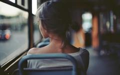 Girl thinking of him in bus dp