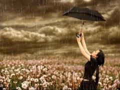Rainy season girl enjoy with umbrella ,wide,wallpapers,images,pictute,photos