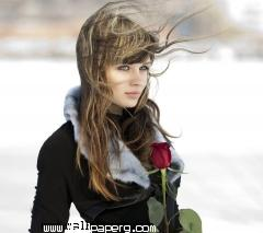 Alone girl holding love rose