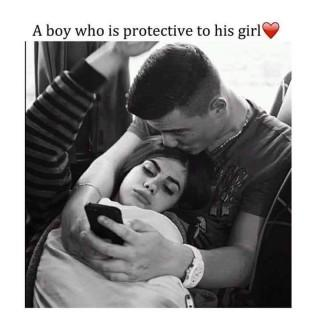 A boy who protective to his girl quote image