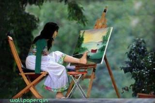 No hands girl amazing painting ,wide,wallpapers,images,pictute,photos
