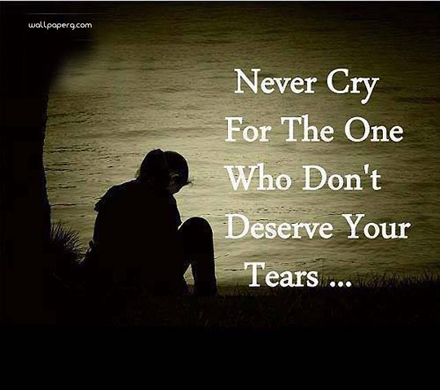 Never cry best sad quote image
