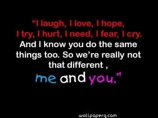 Me and you love hd quote wallpaper