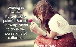 Waiting is painful hd quote wallpaper for girl