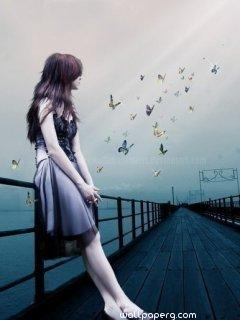 Alone girl watching butterfly ,wide,wallpapers,images,pictute,photos