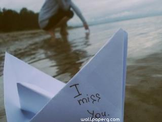 I miss you paper boat quote ,wide,wallpapers,images,pictute,photos