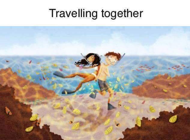 Love couple traveling together