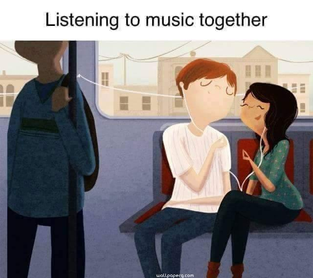 Romantic couple listening music together