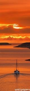 Sailing in the orange sunset ,wide,wallpapers,images,pictute,photos