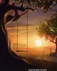 Autumn sunset swing