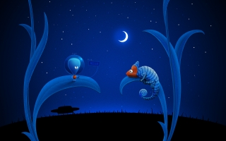 Alien moon and chameleon ,wide,wallpapers,images,pictute,photos