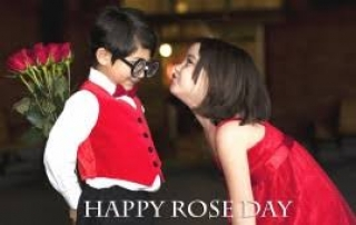 Rose day cute kids couple