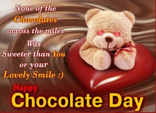 Teddy with chocolate day wish quote