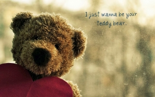 I wanna be your cute teddy bear quote ,wide,wallpapers,images,pictute,photos