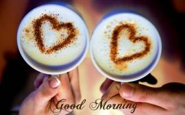 Good morning hearts on coffee