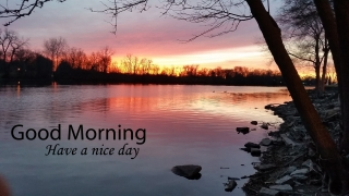 Beautiful sunrise in lake good morning wallpaper