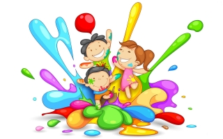 Cute childs playing holi image ,wide,wallpapers,images,pictute,photos