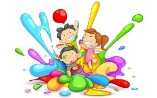 Cute childs playing holi image