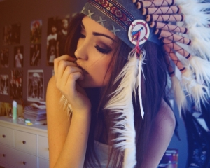 Girl indian hat