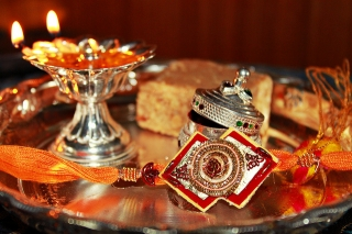 Decorated thali for raksh