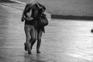 Happy monsoon romantic couple in rain wallpaper