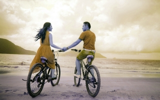 Girl boy with bicycles hd wallpapers
