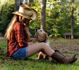Girl with dog hd wide wal