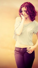 Brown hair jeans pose photography iphone wallpaper ,wallpapers,images,