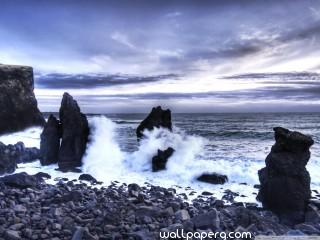 Iceland sea shore hd wall