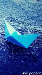 Blue paper boat hd wallpa