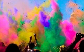 Holi hd wallpapers with colours in the air