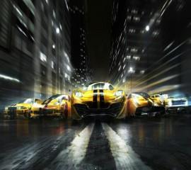 Yellow grid cars