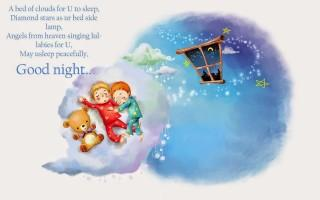 Good night message with sweet teddy wallpaper
