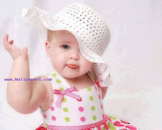 Sweet baby with white hat