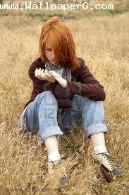 Girl alone in weeds