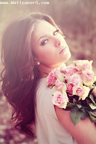 Girl with awesome flowers ,wide,wallpapers,images,pictute,photos