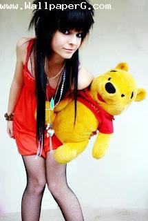 Stylish girl holding poo bear ,wide,wallpapers,images,pictute,photos
