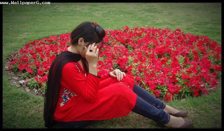In red in park ,wide,wallpapers,images,pictute,photos