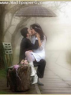 Kiss over rain